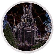 Neon Castle Round Beach Towel by Eric Liller
