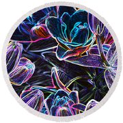 Neon Lilies Round Beach Towel by Tine Nordbred