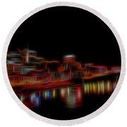 Neon Nashville Skyline At Night Round Beach Towel