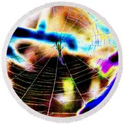 Neon Spider Round Beach Towel