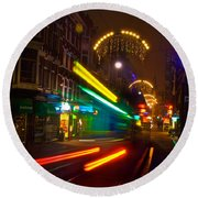 Round Beach Towel featuring the photograph Neon Tram Leidestraat by Jonah  Anderson
