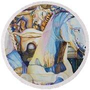 Neptune's Sea Horses - Florence Round Beach Towel