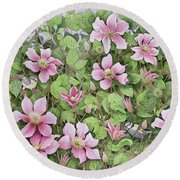 Nesting In Clematis Oil On Canvas Round Beach Towel