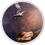 Round Beach Towel featuring the digital art Nesting Woman by Rosa Cobos