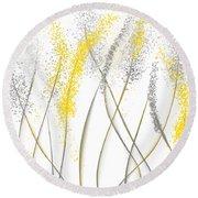 Neutral Sunshine - Yellow And Gray Modern Art Round Beach Towel by Lourry Legarde