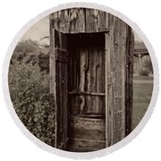 Nevada City Ghost Town Outhouse - Montana Round Beach Towel