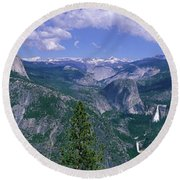 Nevada Fall And Half Dome, Yosemite Round Beach Towel by Panoramic Images