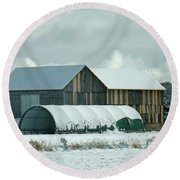 Round Beach Towel featuring the photograph New And Old Barn Planks by Brenda Brown