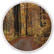 New Autumn Trails Round Beach Towel