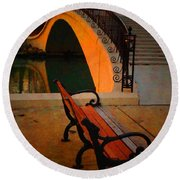 New Bridge And Bench Round Beach Towel