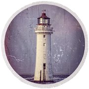 New Brighton Lighthouse Round Beach Towel by Spikey Mouse Photography