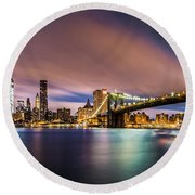 New Dawn Over New York Round Beach Towel