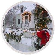 New England Christmas Round Beach Towel