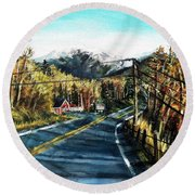 New England Drive Round Beach Towel