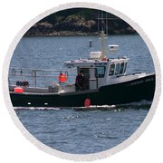 Round Beach Towel featuring the photograph New England Fishing Boat by Denyse Duhaime