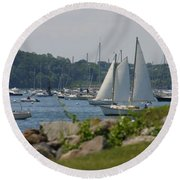 Round Beach Towel featuring the photograph New England Seascape by Denyse Duhaime