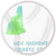New Hampshire - Granite State - Map - State Phrase - Geology Round Beach Towel