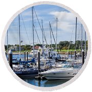 New Hampshire Marina Round Beach Towel