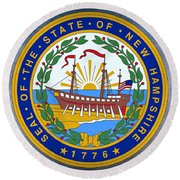New Hampshire State Seal Round Beach Towel