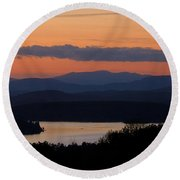 New Hampshire Sunset Round Beach Towel