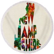 New Hampshire Typographic Watercolor Map Round Beach Towel