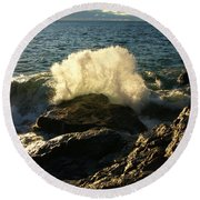 Round Beach Towel featuring the photograph New Heights by James Peterson