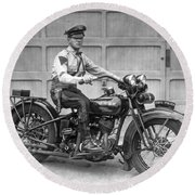 New Jersey Motorcycle Trooper Round Beach Towel