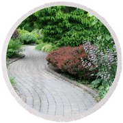 Round Beach Towel featuring the photograph Frelinghuysen Arboretum Path by Richard Bryce and Family
