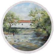 New Jersey's Last Covered Bridge Round Beach Towel