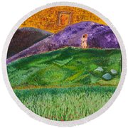 Round Beach Towel featuring the painting New Jerusalem by Cassie Sears