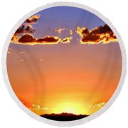 Round Beach Towel featuring the photograph New Mexico Sunset Glow by Barbara Chichester