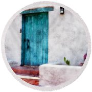 New Mexico Turquoise Door And Cactus  Round Beach Towel