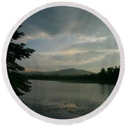 Round Beach Towel featuring the photograph New Morning On Lake Umbagog  by Neal Eslinger