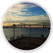 Round Beach Towel featuring the photograph New Orleans Bridge by Erika Weber