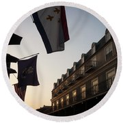 Evening In New Orleans Round Beach Towel