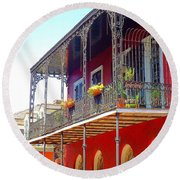 New Orleans French Quarter Architecture 2 Round Beach Towel