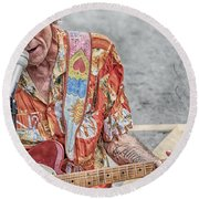 New Orleans Guitar Man Round Beach Towel