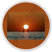 Round Beach Towel featuring the photograph New Orleans Sailing Sun On Lake Pontchartrain by Michael Hoard