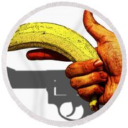New Photographic Art Print For Sale   Hand Gun Against A White Background Round Beach Towel