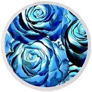 Pop Art Blue Roses Round Beach Towel