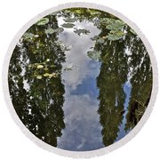 Reflections Amongst The Lily Pads Round Beach Towel