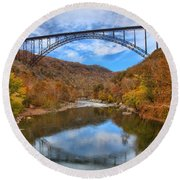 New River Gorge Reflections Round Beach Towel