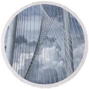 New Skyline Bridge Round Beach Towel by Joan Carroll