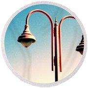Beach Lamp Post Round Beach Towel by Valerie Reeves