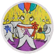 Round Beach Towel featuring the painting New Tooth by Anthony Falbo