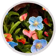 New World And Old World Exotic Flowers Round Beach Towel