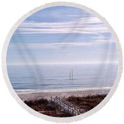 New Year Carolina Beach Round Beach Towel