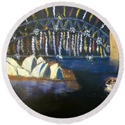 Round Beach Towel featuring the painting New Year Eve On Sydney Harbour by Pamela  Meredith