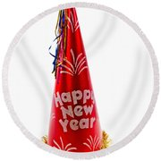 Happy New Year Party Hat Round Beach Towel by Vizual Studio