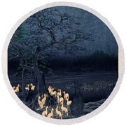 New Years Eve Foxfires At The Changing Tree Round Beach Towel